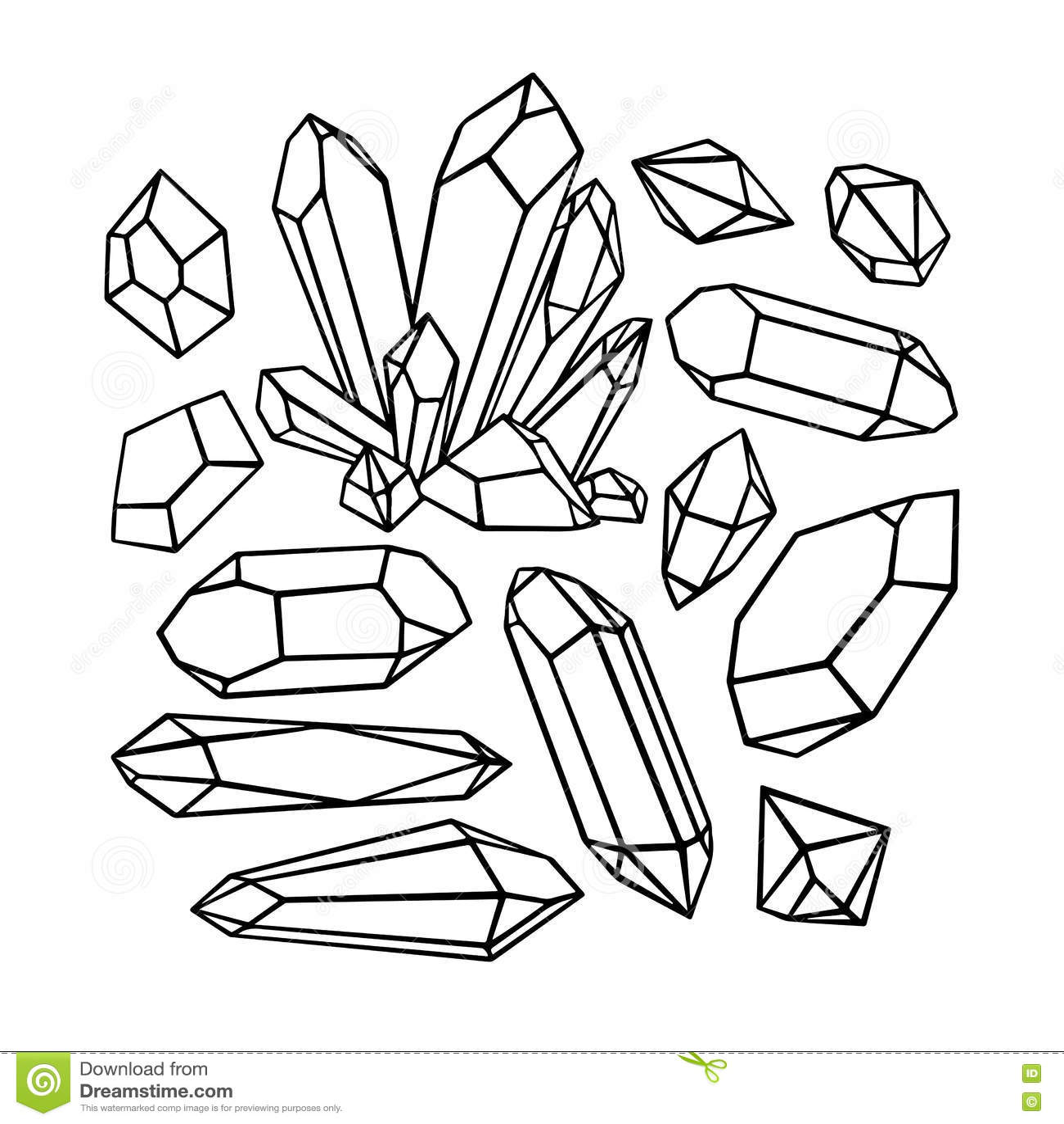 Beautiful Set Of Sketch Crystals Stock Vector ...