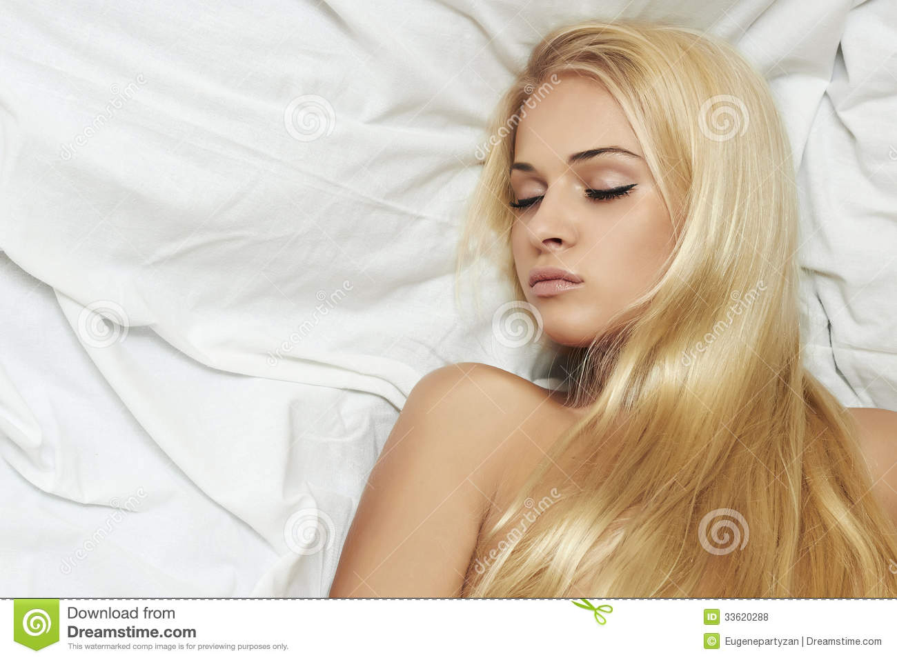 Beautiful Blond Woman In The Bed Hair Care Beauty Royalty