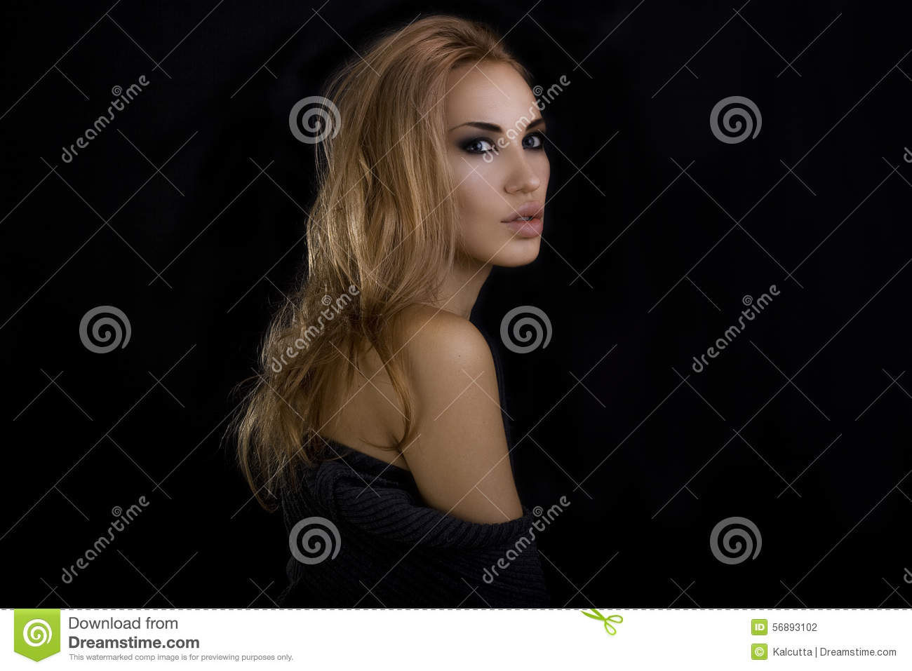 Beautiful Blond Woman. Dark Background. Smokey Eyes Makeup