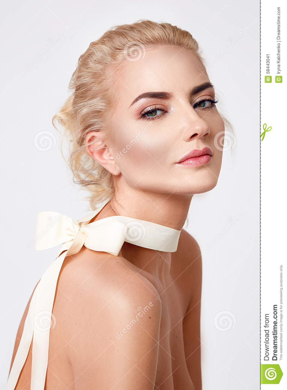 Beautiful Blond Woman Natural Makeup Nude Body Shape Stock -1150