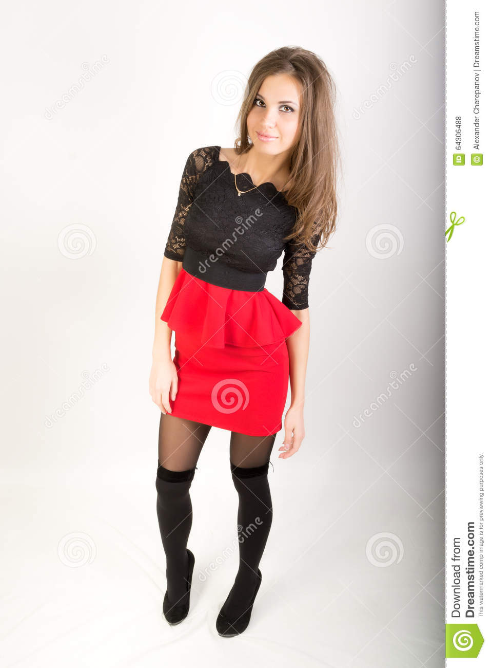Good words Sexy brunette stockings skirt you