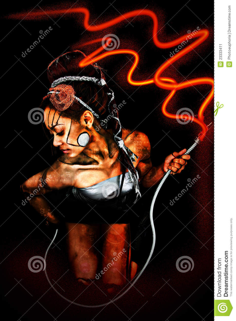 Beautiful Cyborg Woman with Electrical Cord