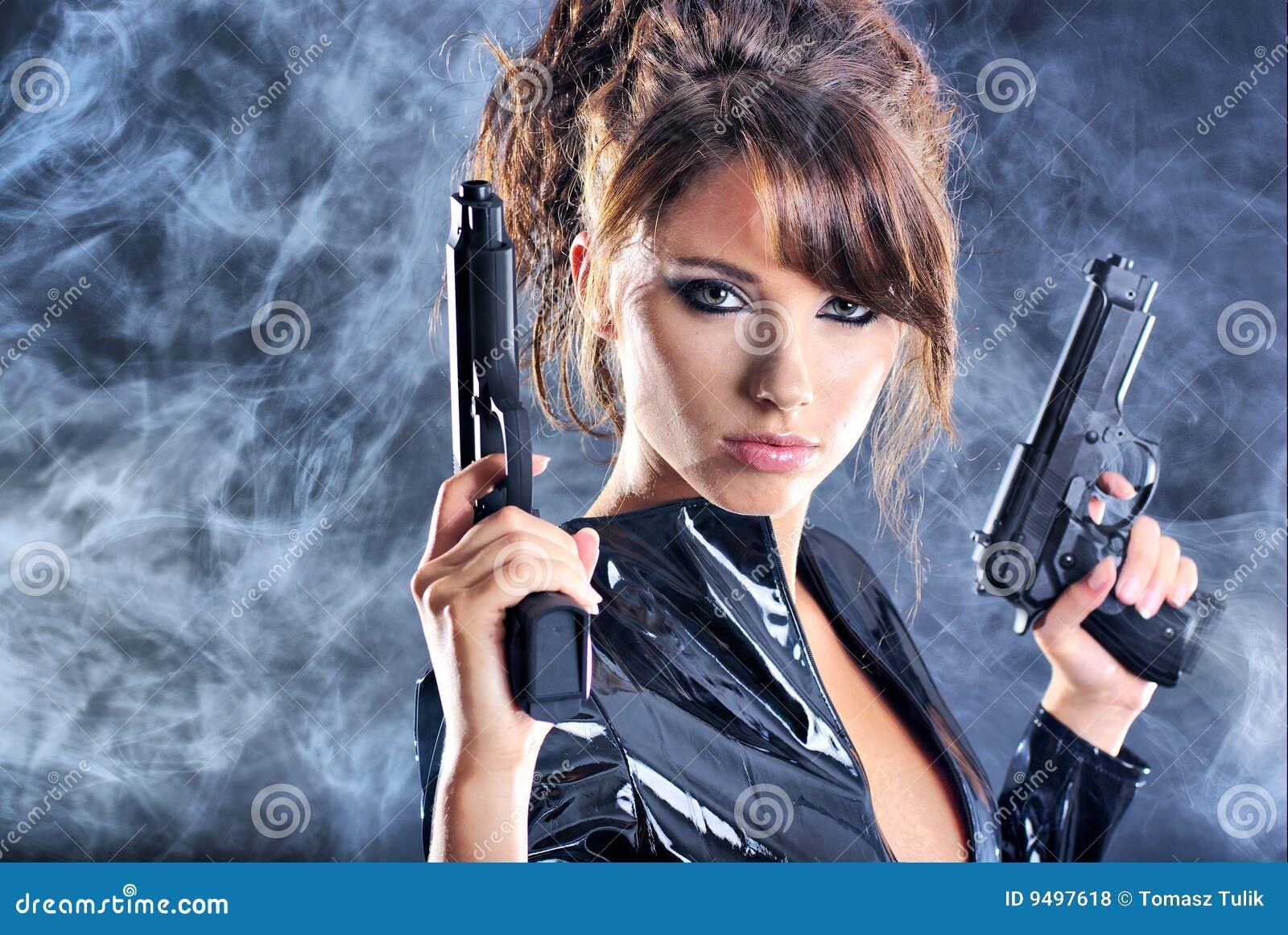 Asian girl gun wallpaper