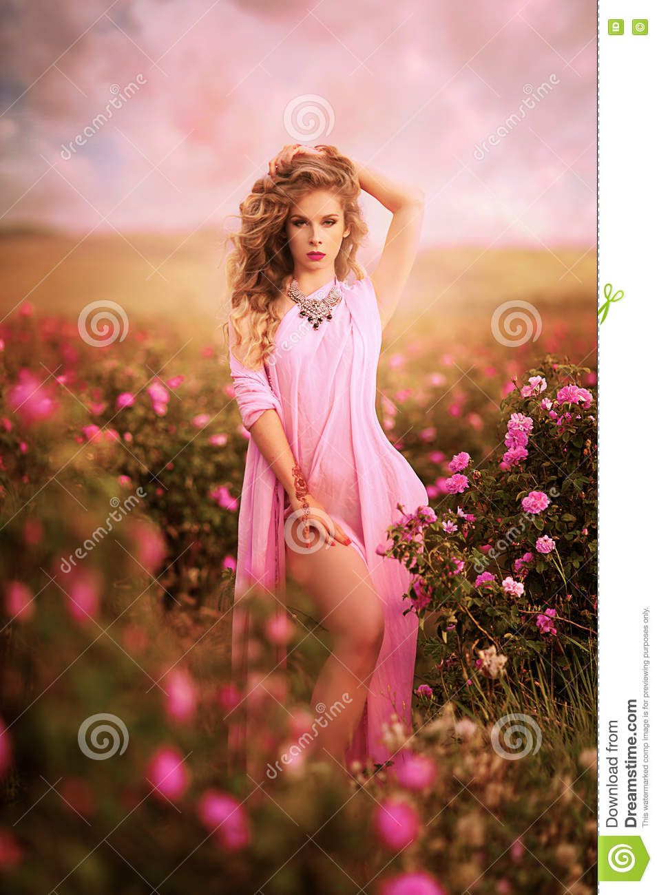 Beautiful girl in a pink dress standing in the garden roses