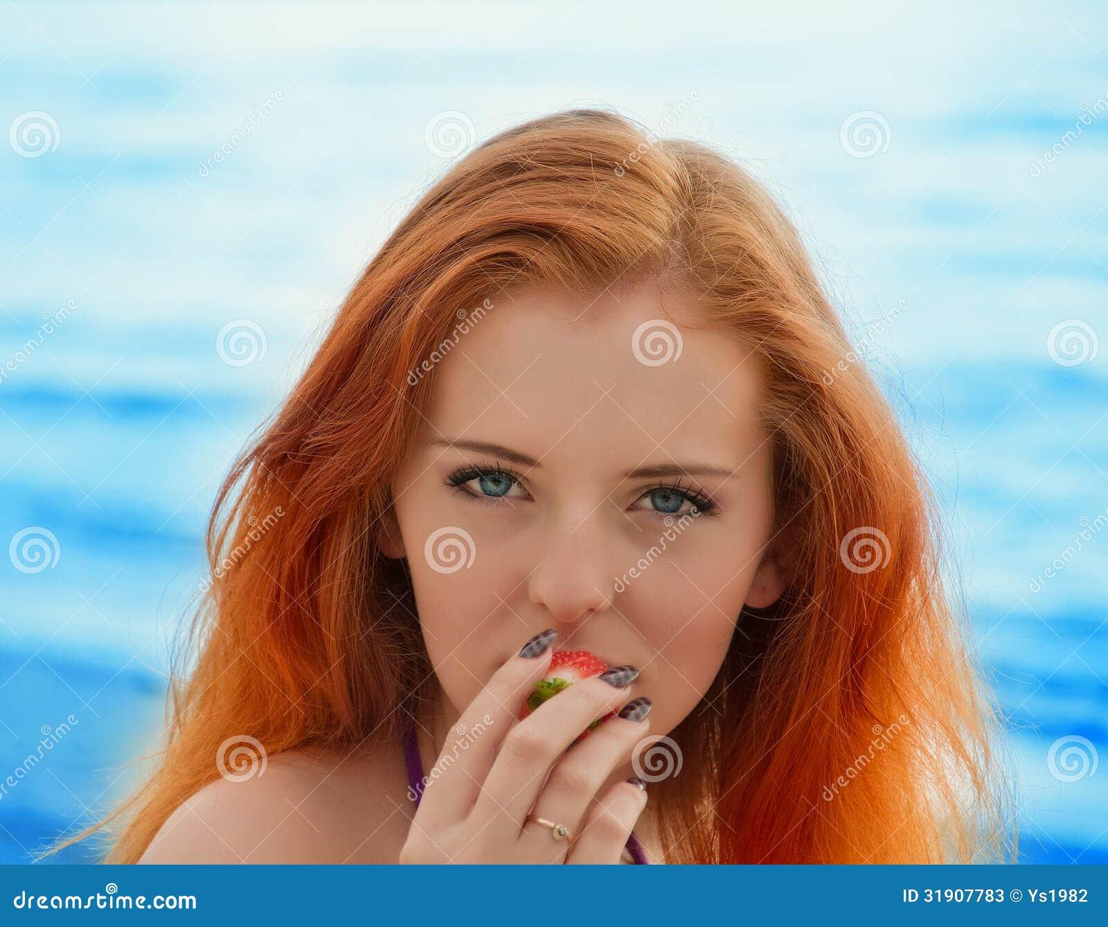 Woman With Beautiful Body In Bikini At Beach Stock Image: Beautiful Sexy Girl With Red Hair And Bikini Posing On A
