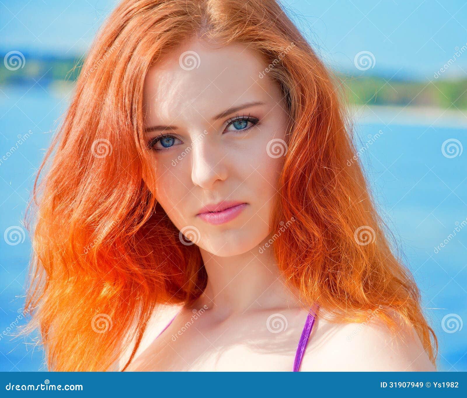 Woman With Beautiful Body In Bikini At Beach Stock Image: Beautiful Girl With Red Hair And Bikini Posing On A Beach