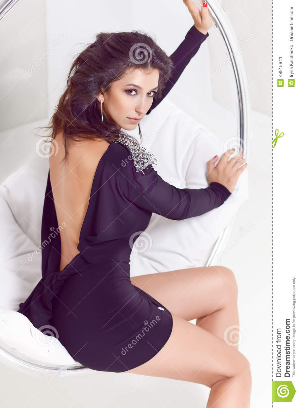 Beautiful Luxurious Well Groomed Young Woman In A Black