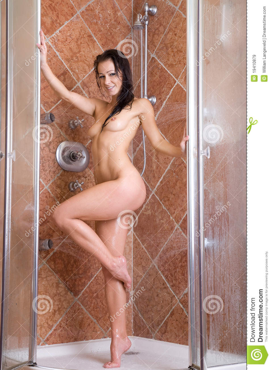 In hot naked shower chick
