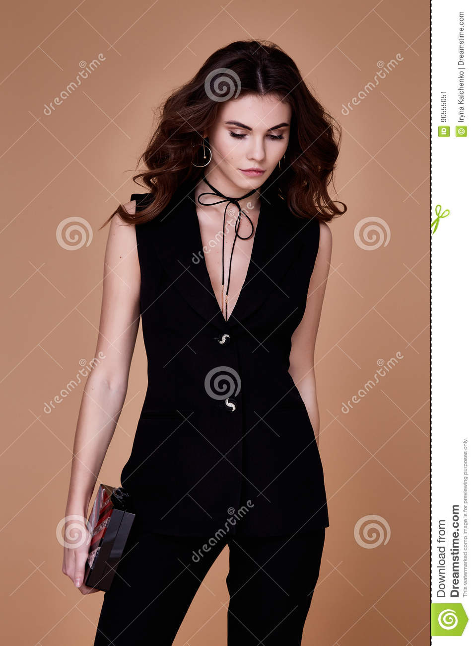 Skinny Pretty Virgins Ls: Beautiful Pretty Girl Wear Black Suit Jacket And Pants