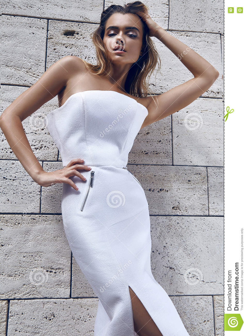 Beautiful Woman Blond Hair Model Fashion Style Dress Wear White Color Sun Shine Shadow Wall Tanned Skin Summer Weather Vogue Glamour Lady Body Face