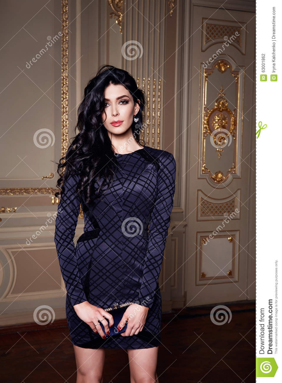 Beautiful Woman In Elegant Dress Fashionable Autumn Collection Of Spring Long Brunette -7498