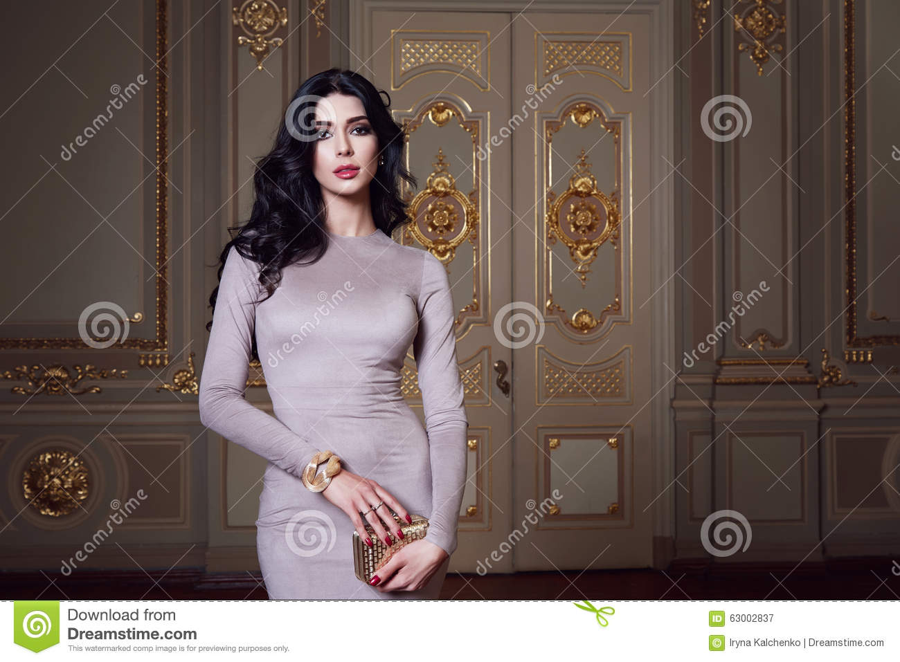 Download Beautiful Woman In Elegant Dress Fashionable Autumn Collection Of Spring Long Brunette Hair Makeup Tanned Slim Body Figure Ac Stock Image - Image of long, bags: 63002837