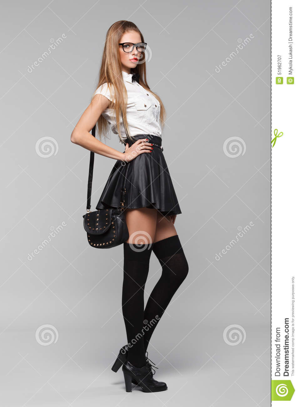 Beautiful Woman Is In Fashion Style In Black Mini Skirt Fashion Girl Stock Image Image Of