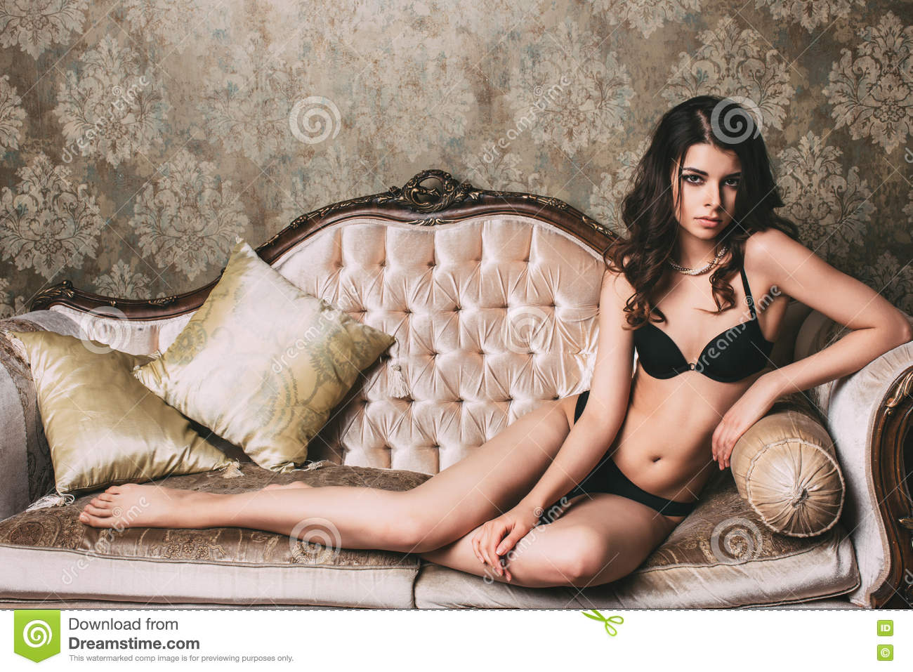 Astonishing Beautiful Woman In Lingerie Lying On A Vintage Sofa Stock Uwap Interior Chair Design Uwaporg