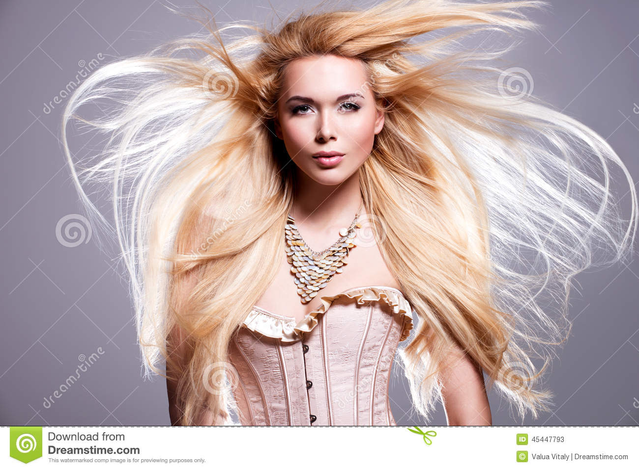 beautiful woman with long blonde hair stock photo image
