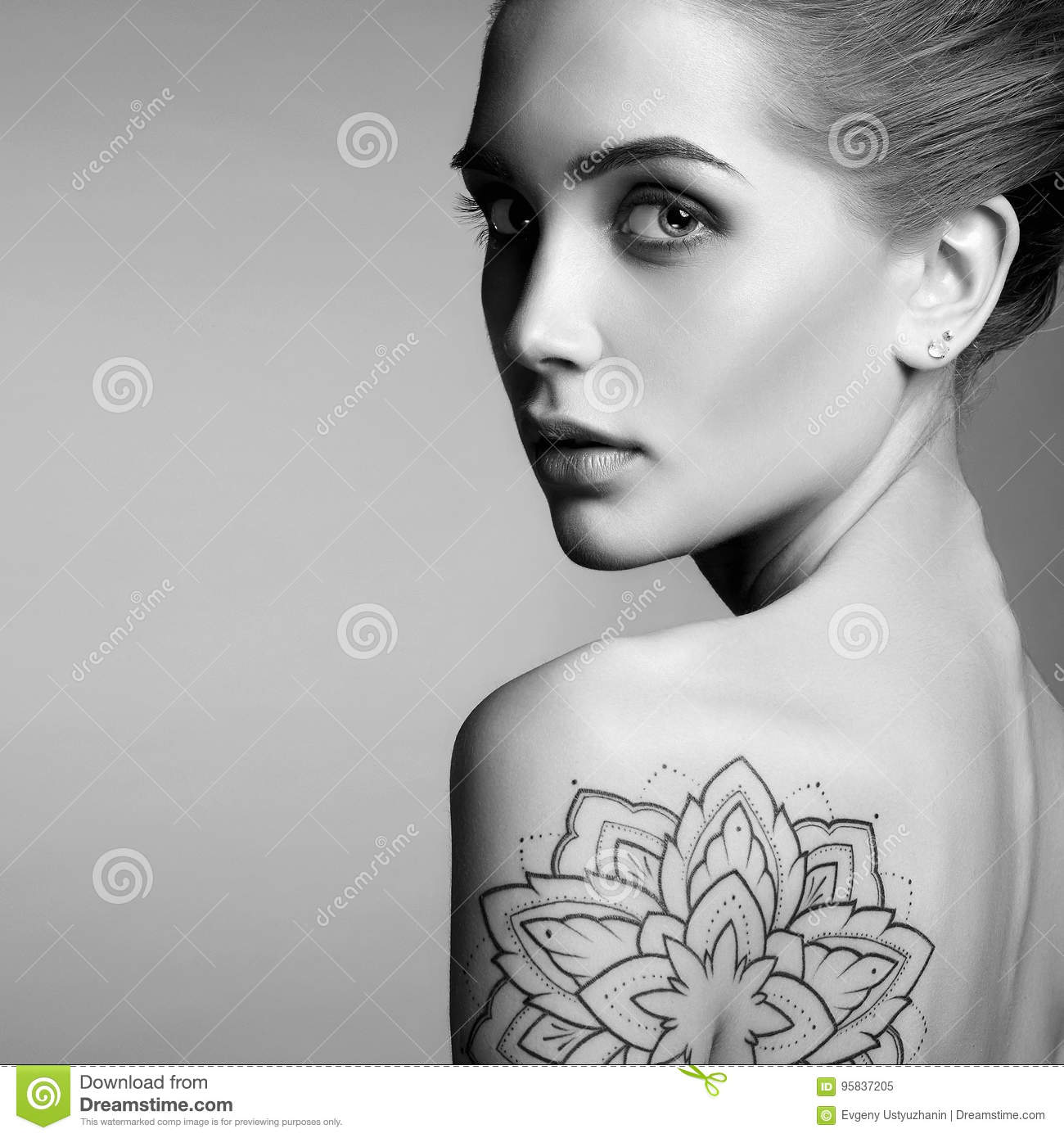 Beautiful woman with tattoo stock image image of blond