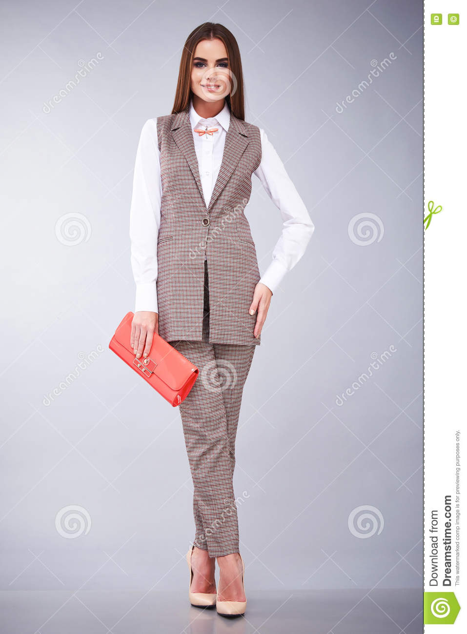 Beautiful Young Business Woman Brunette Hair With Evening Make Up Wearing Casual Suit Office Style High Heeled Shoes Business Clothes For Meetings And Walks