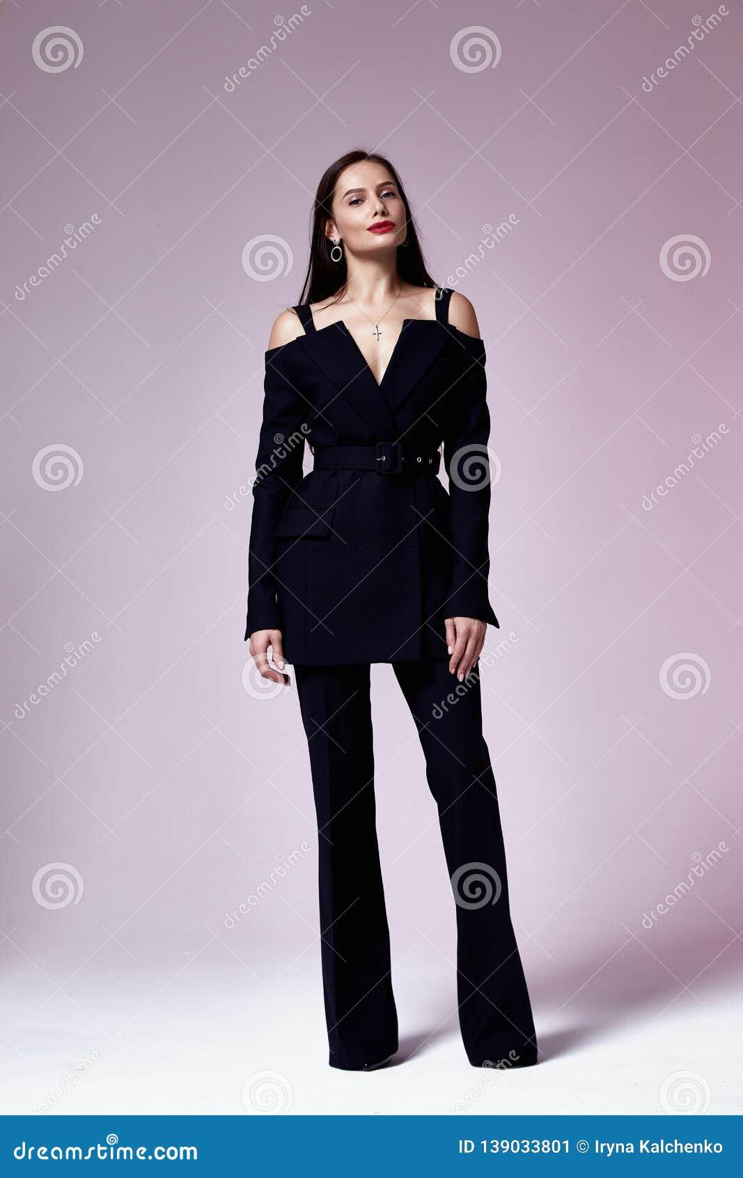 Beautiful Young Business Woman Brunette Hair Evening Makeup Wearing