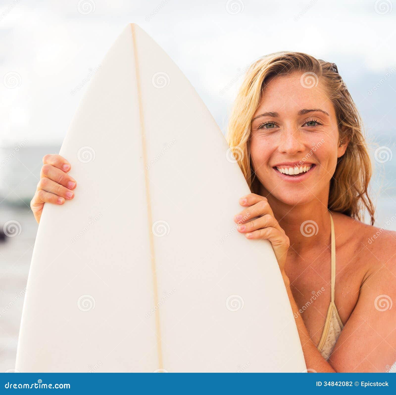 Beautiful Young Surfer Girl In Bikini On The Beach At