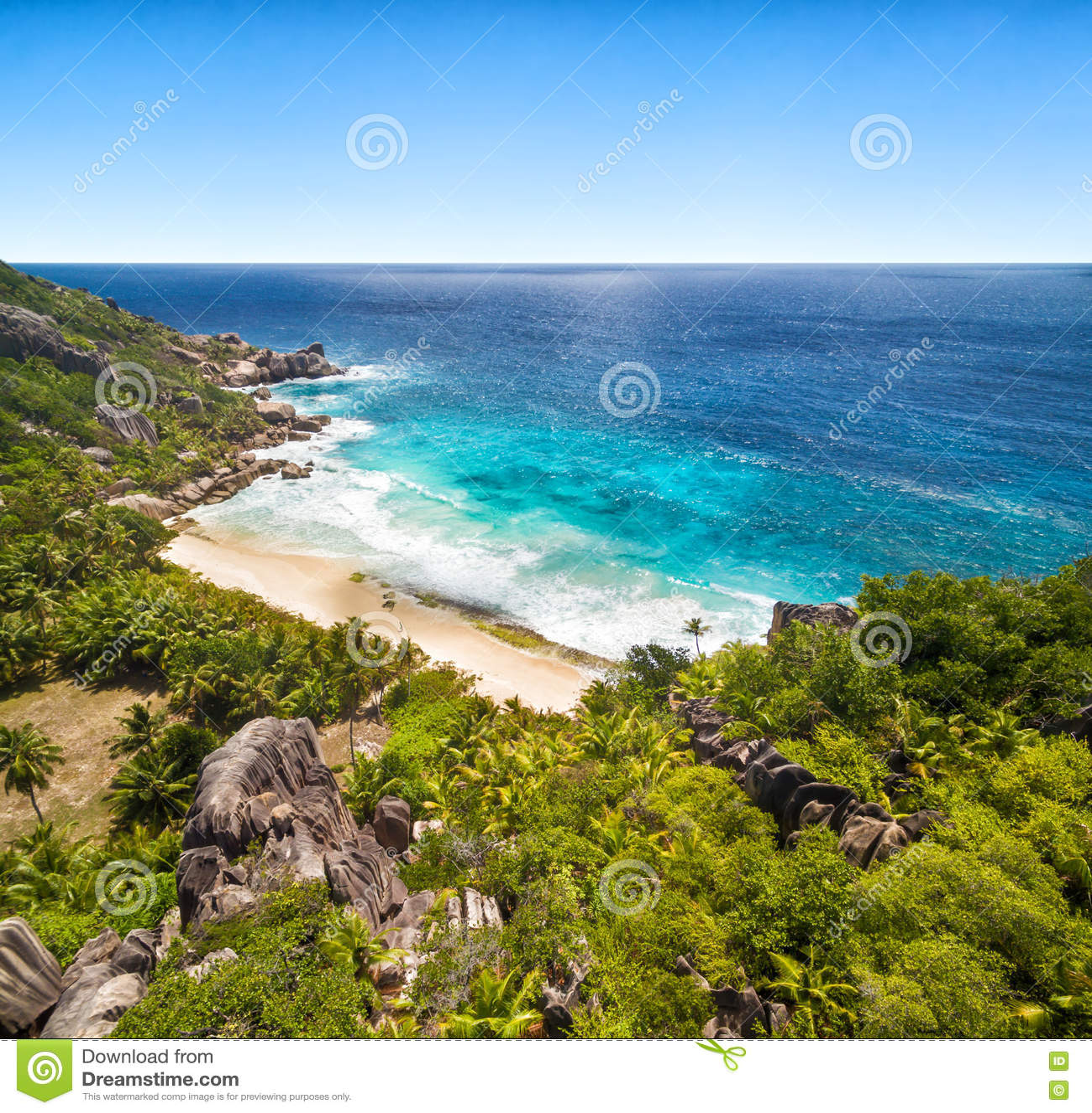Seychelles Island Beaches: Beautiful Seychelles Island With Sandy Beach Stock Photo