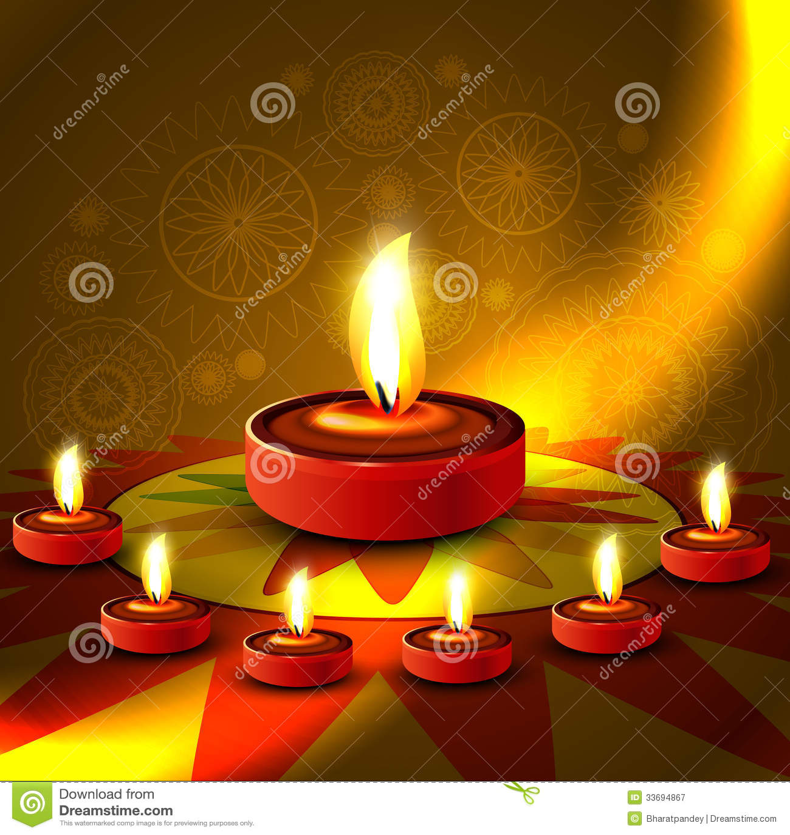 Beautiful Shiny Happy Diwali Diya Colorful Rangoli Royalty