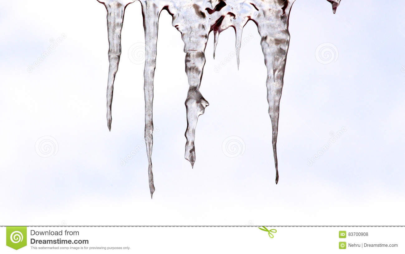 Beautiful Shiny Transparent Icicles Hang Stock Photo