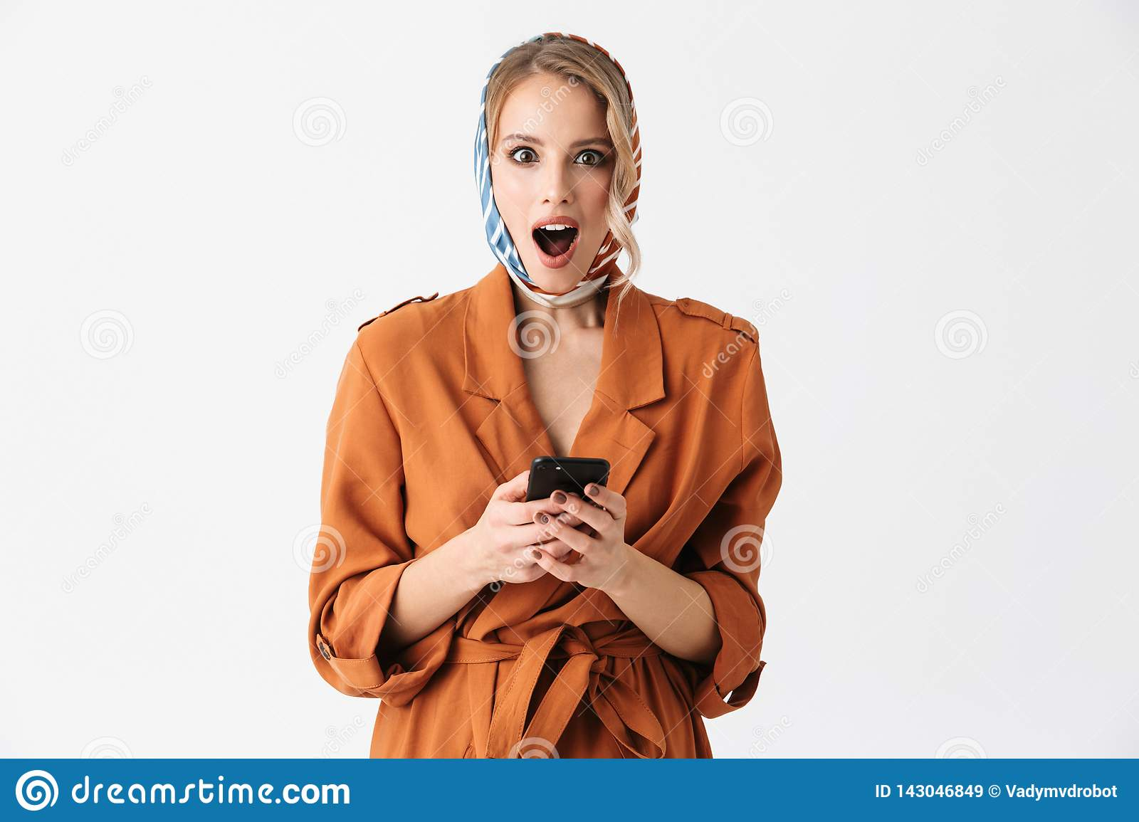 Beautiful Happy Young Woman Wearing Silk Scarf Isolated