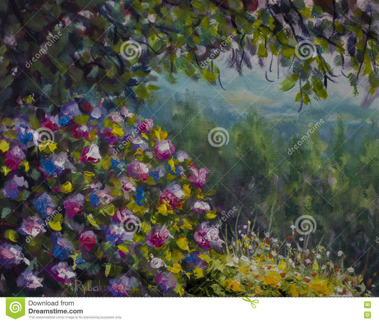 Beautiful Shrub Of Lush Colorful Flowers. Green Forest And Mountains ...