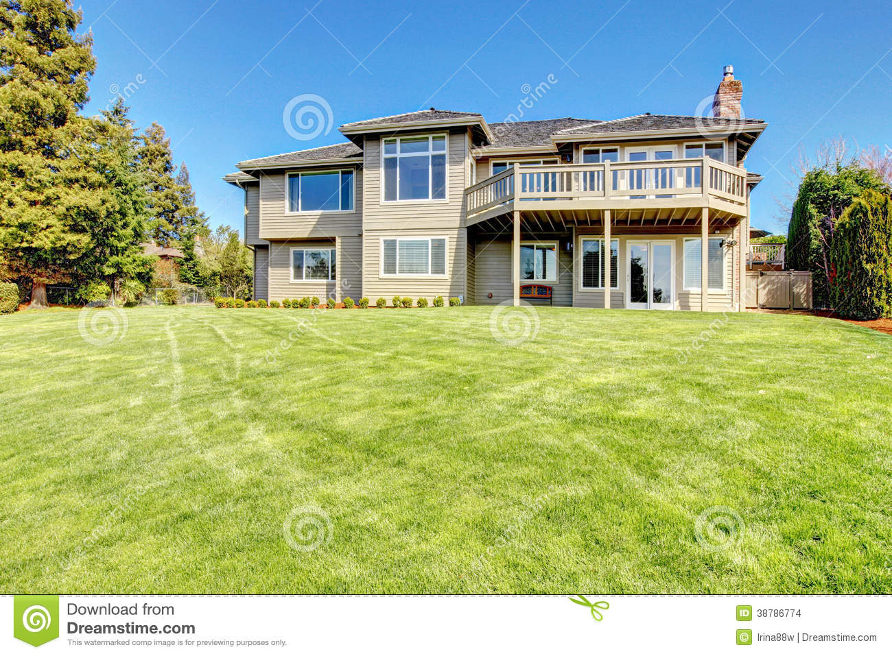 Beautiful Siding House View From Backyard Stock Photo