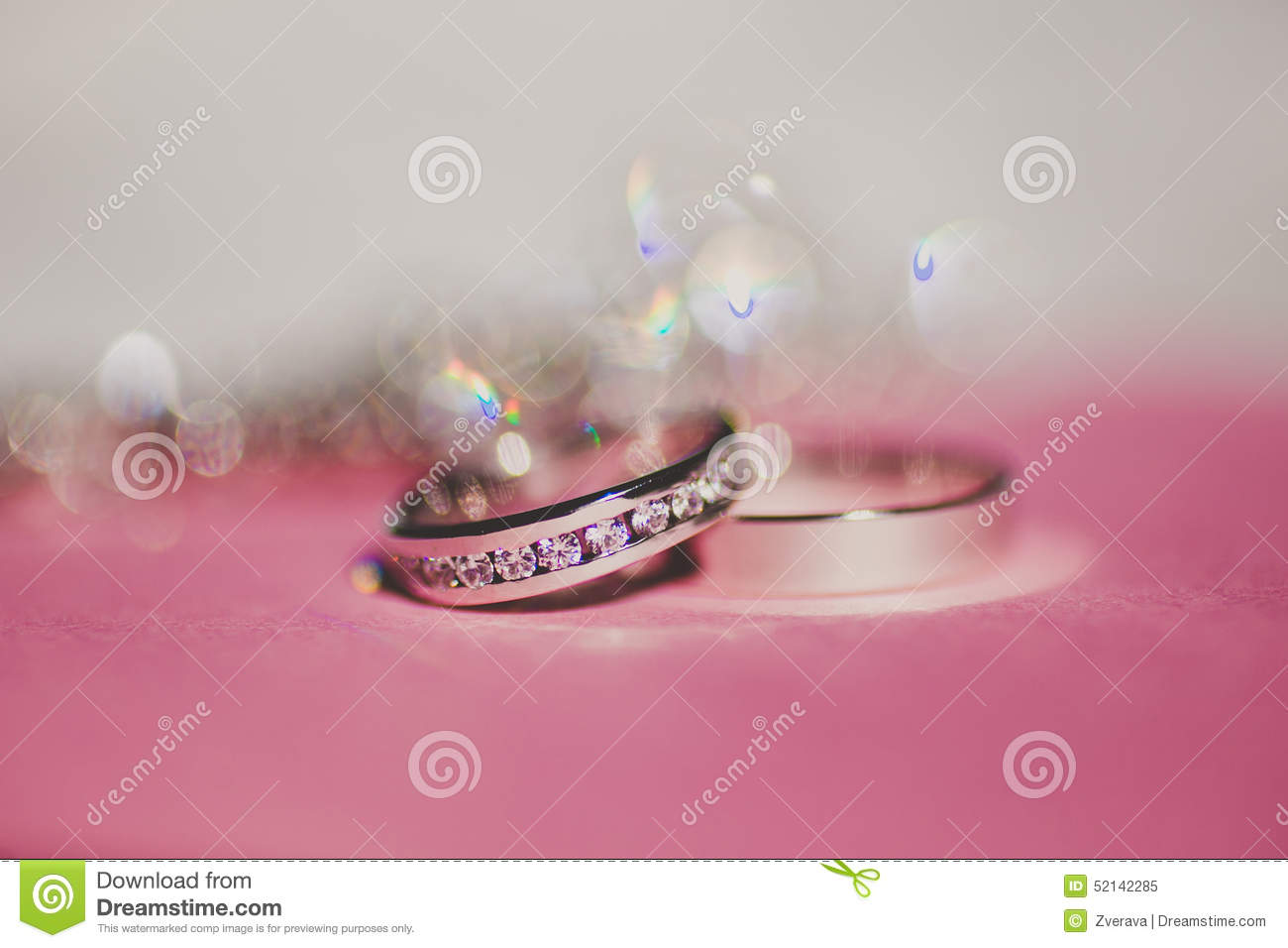 Beautiful Silver Background With Wedding Rings Stock Image - Image ...