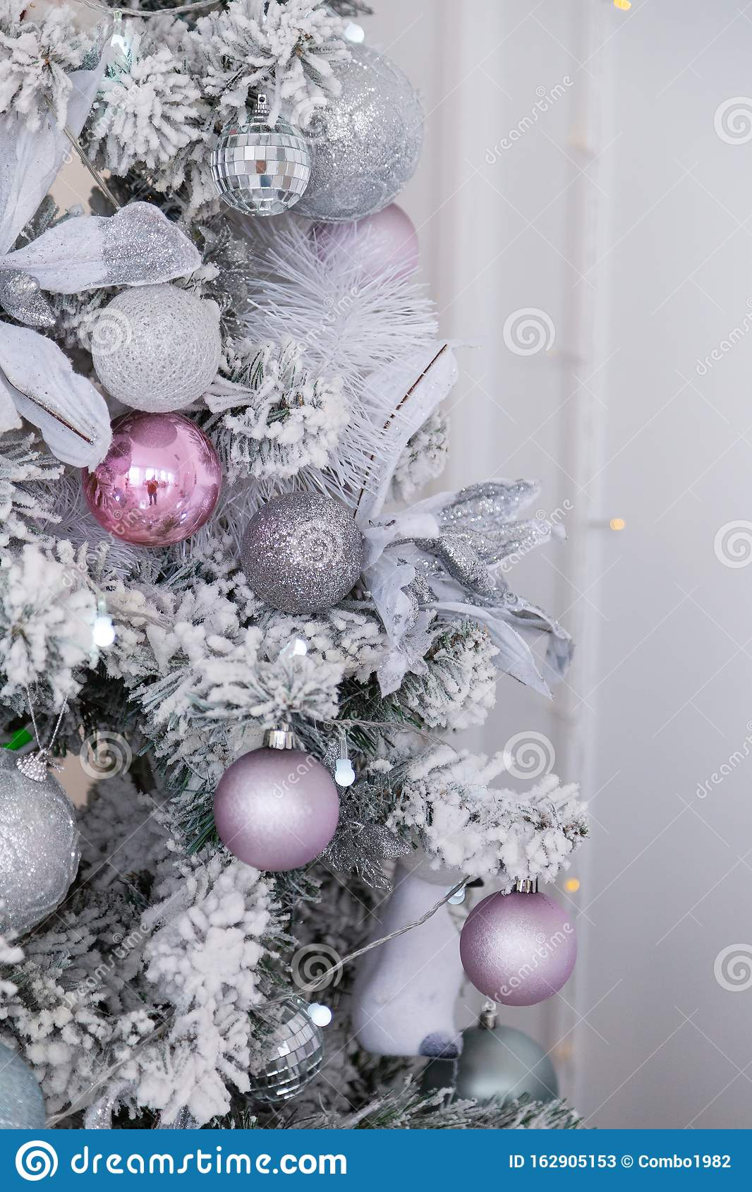 Beautiful Silver Christmas Tree With Decorations New Year 2020 Stock Image Image Of Floral Closeup 162905153