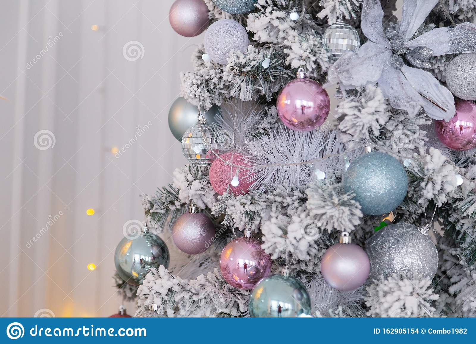 Christmas 2020 Silver Beautiful Silver Christmas Tree With Decorations. New Year 2020