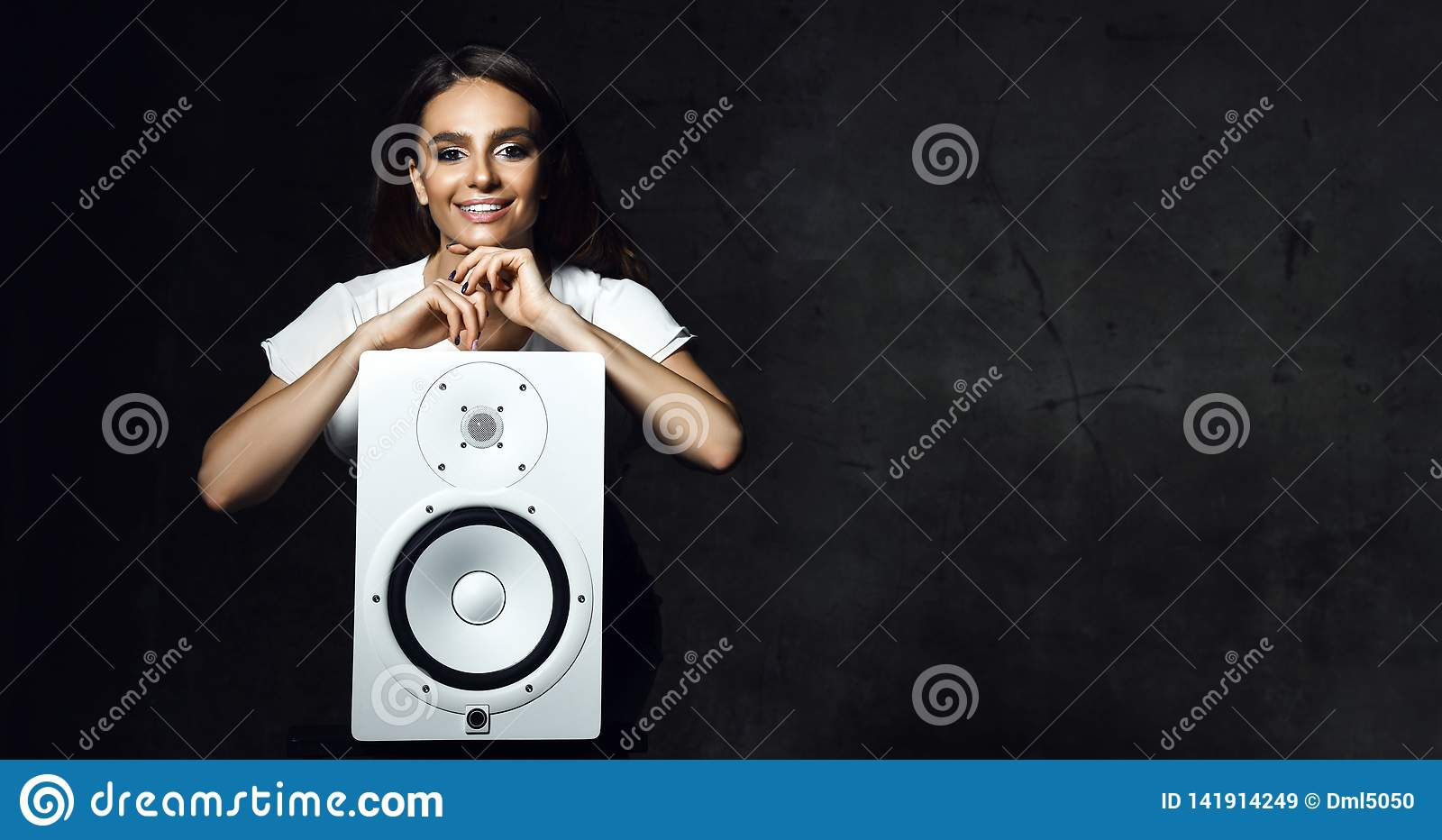 Beautiful Singer Girl With Curly Afro Hair Sing With Microphone