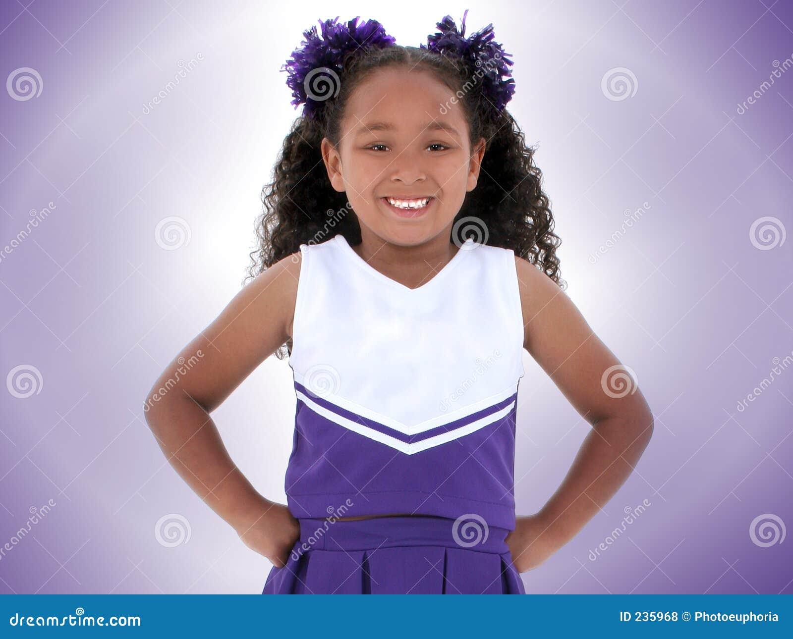 Beautiful Six Year Old Cheerleader Over Purple