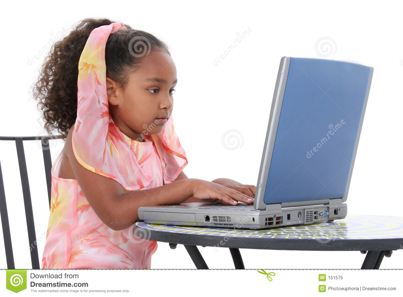 Table For 6 Year Old: Beautiful Six Year Old Child Working On Laptop Stock Image
