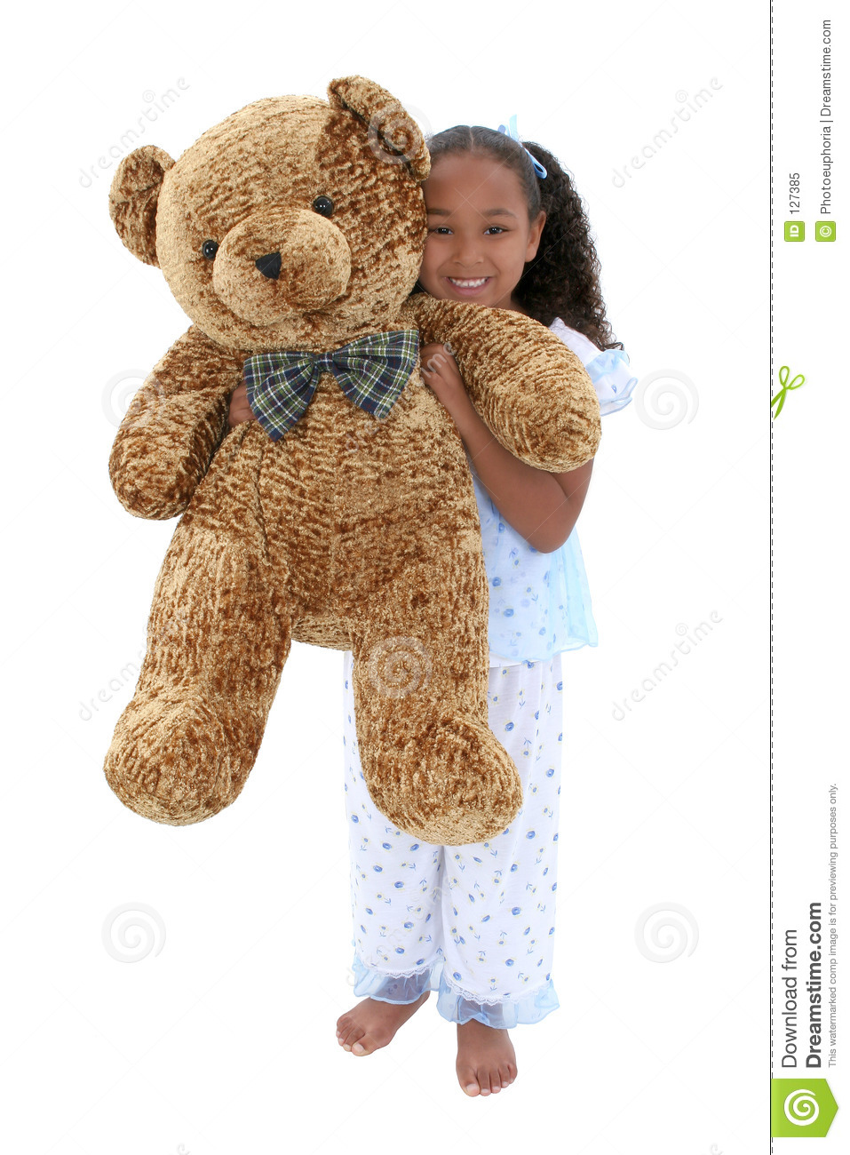 Beautiful Six Year Old Girl In Pajamas With Giant Teddy ...