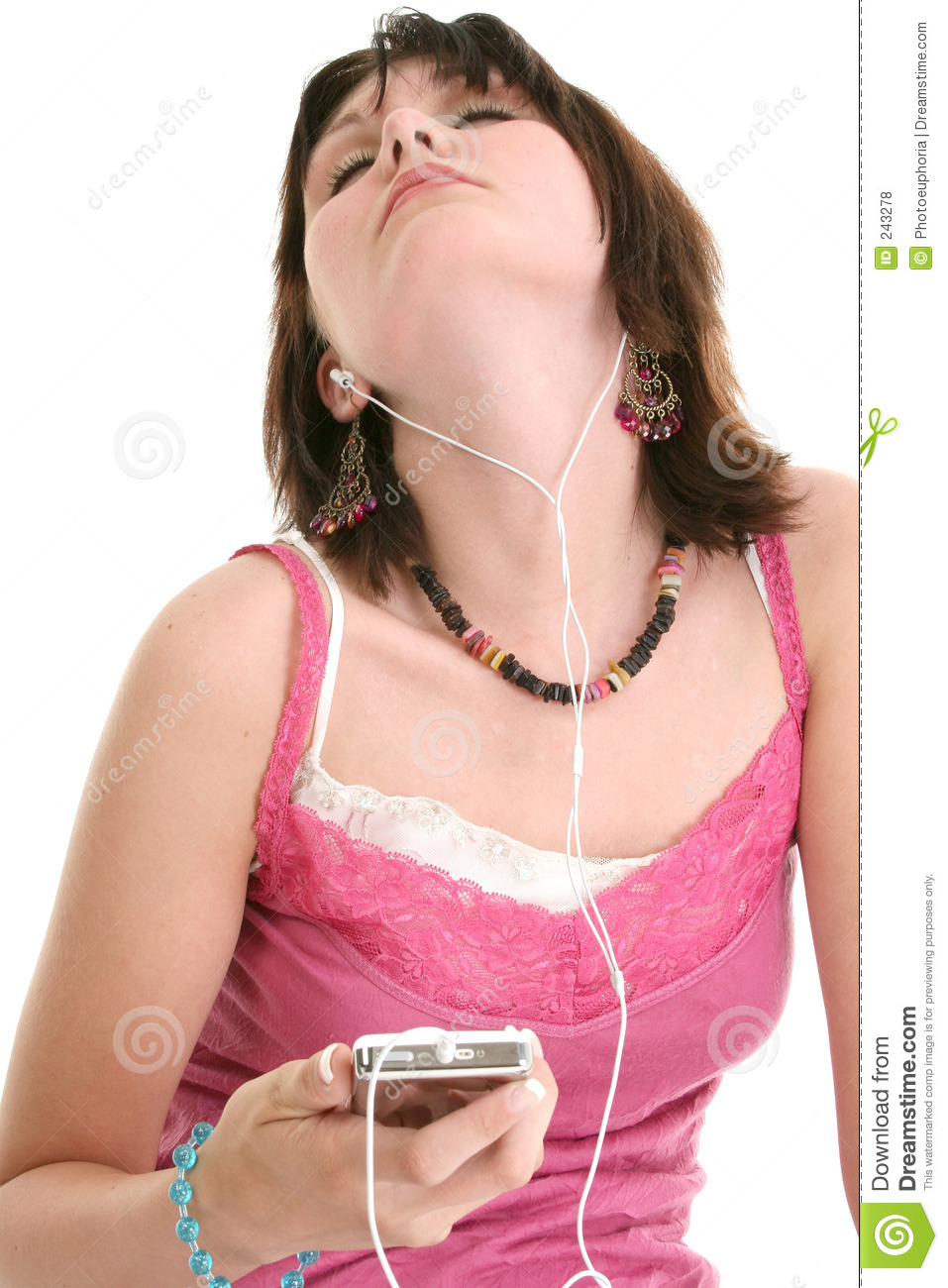 Beautiful Sixteen Year Old Girl Listening To Music Royalty