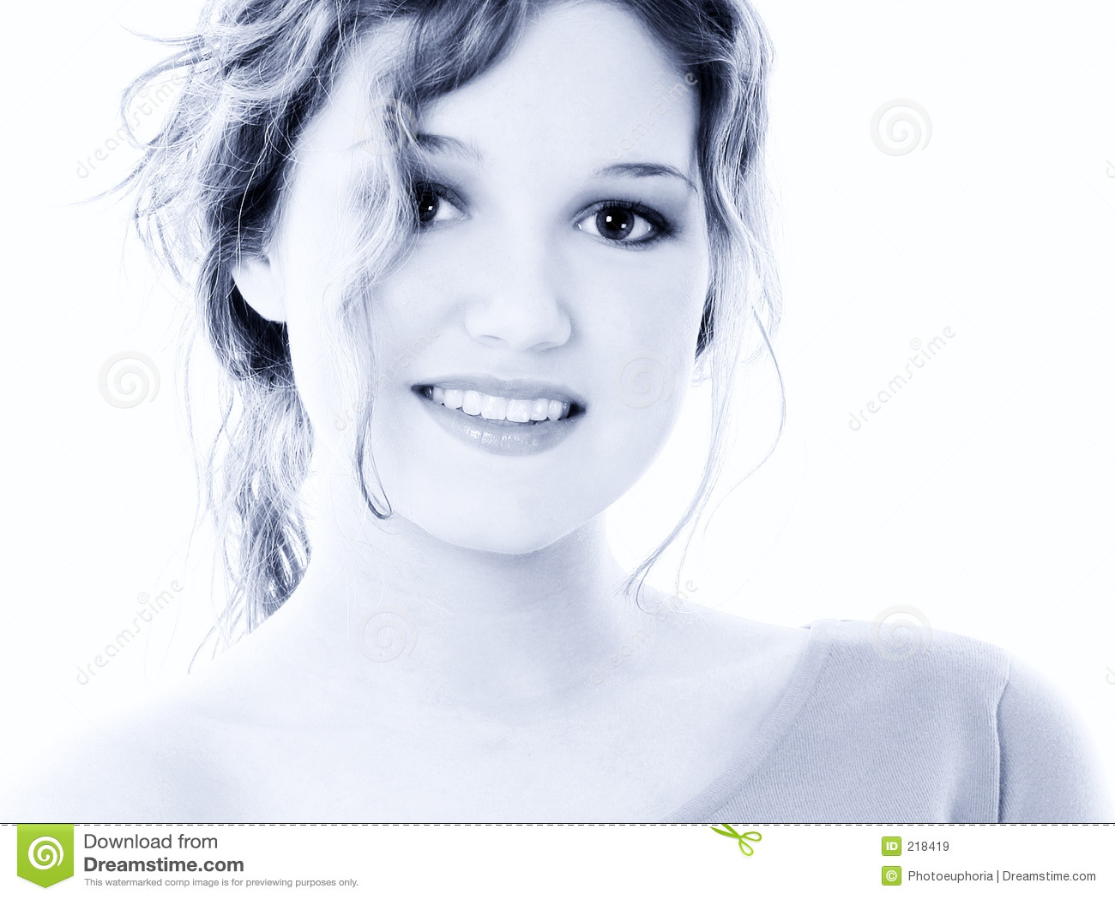 Beautiful Sixteen Year Old Teen Girl Portrait In Blue