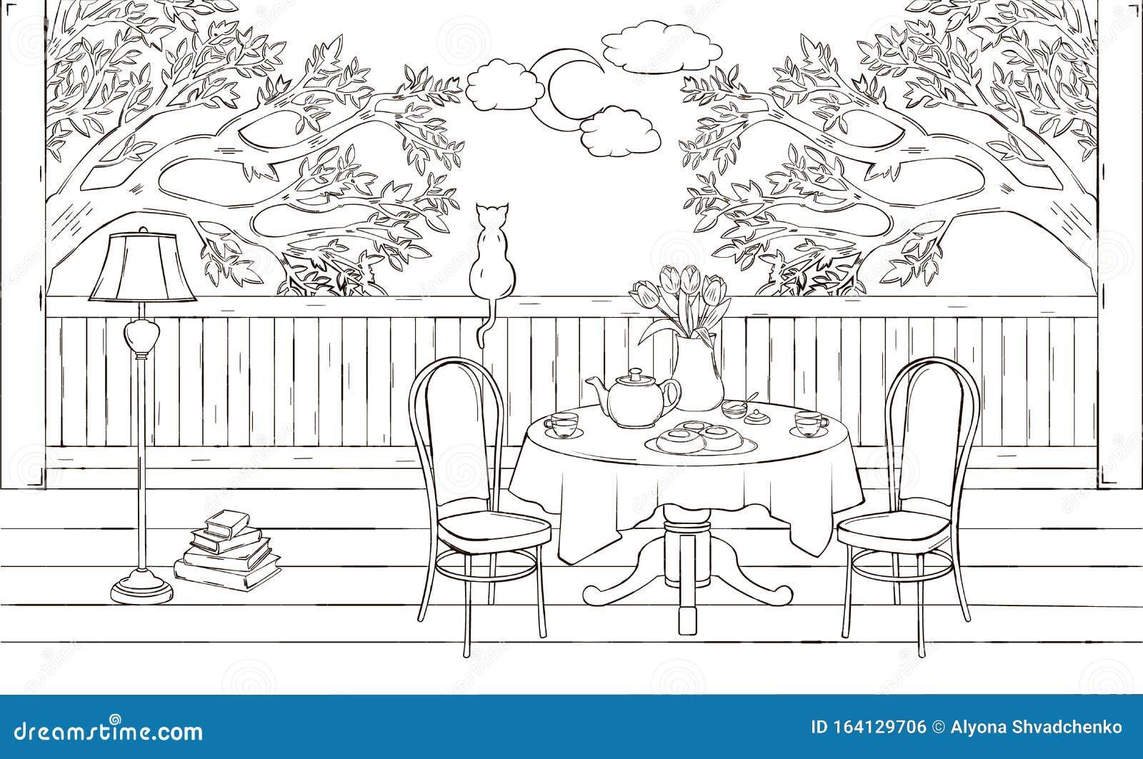 Beautiful Sketch Of Interior Of Veranda. Tea Party On The ... on