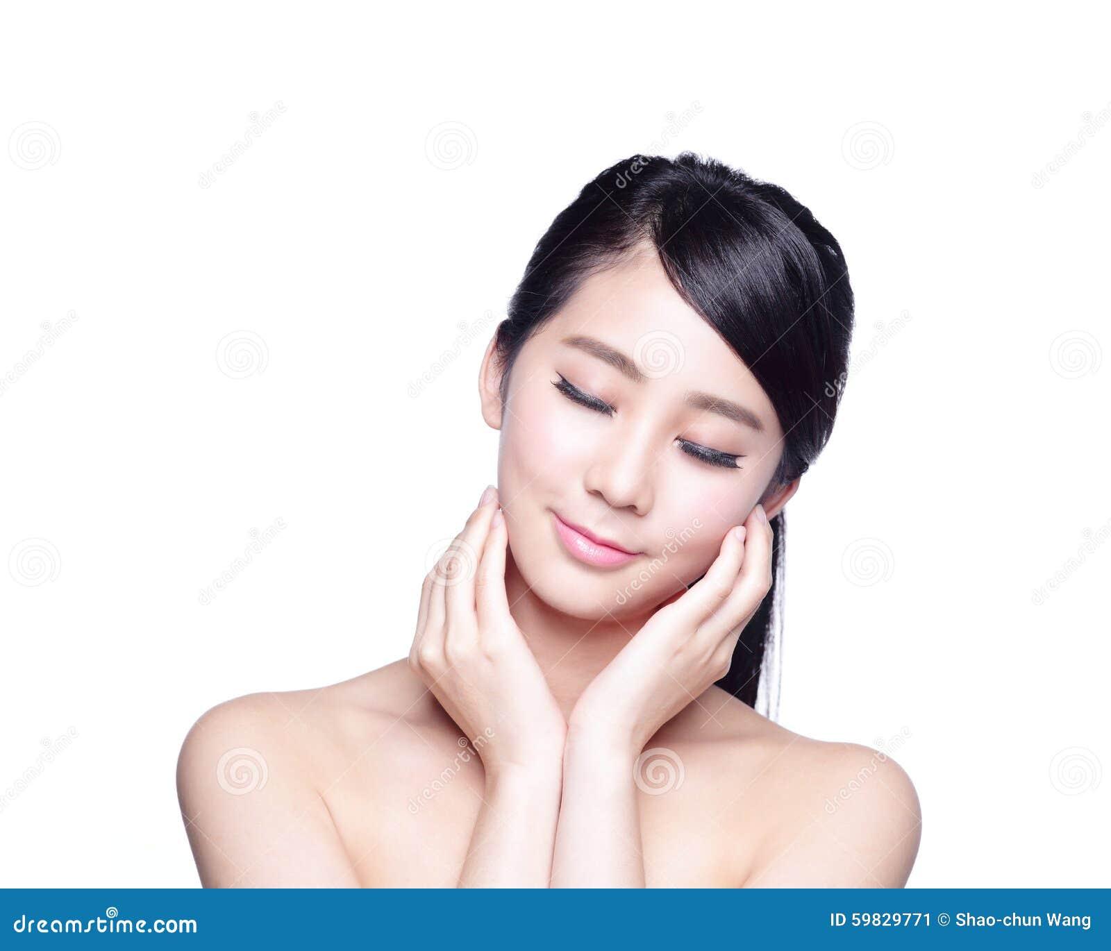 Woman Skin Care: Beautiful Skin Care Woman Face Stock Photo