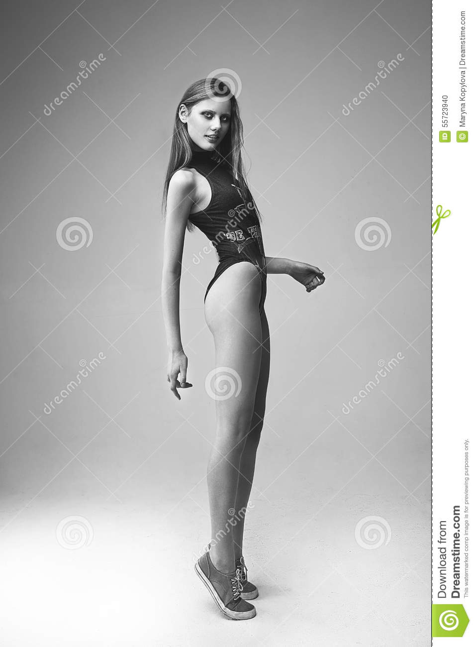 Beautiful Skinny Woman Standing On Tiptoes Stock Photo - Image ...