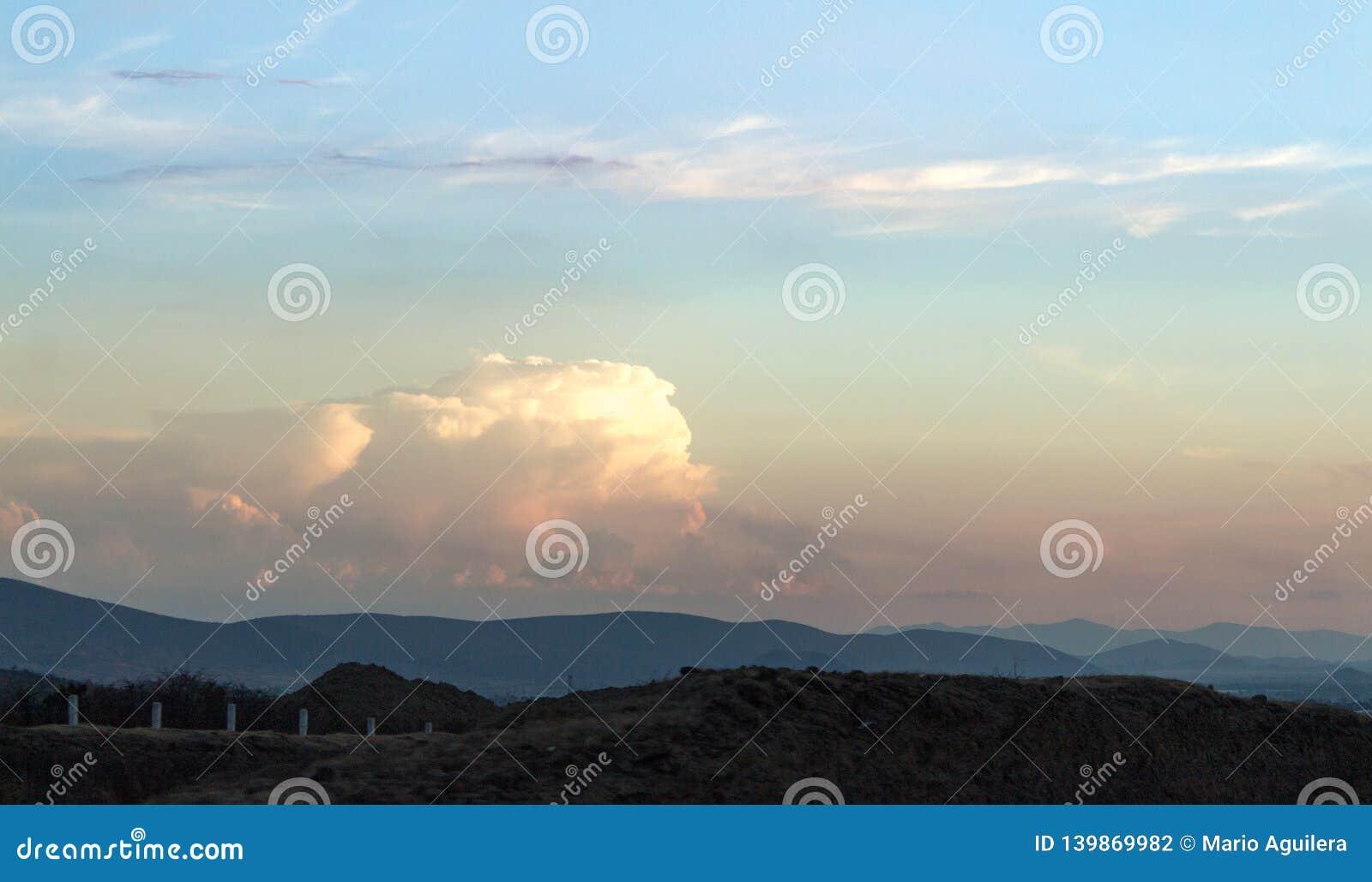 Beautiful sky with a huge cloud