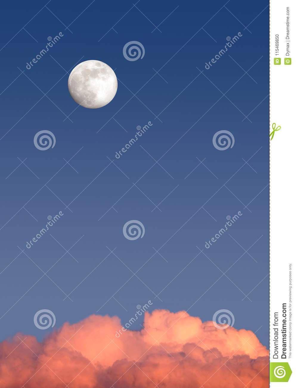 Beautiful sky landscape with white full moon high on clear blue gradient sky above red clouds on sunset