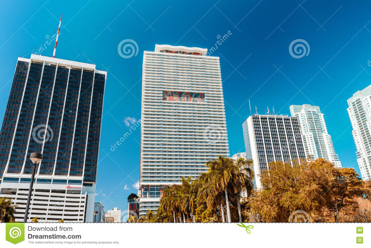 Beautiful skyline of Miami. City buildings and skyscrapers