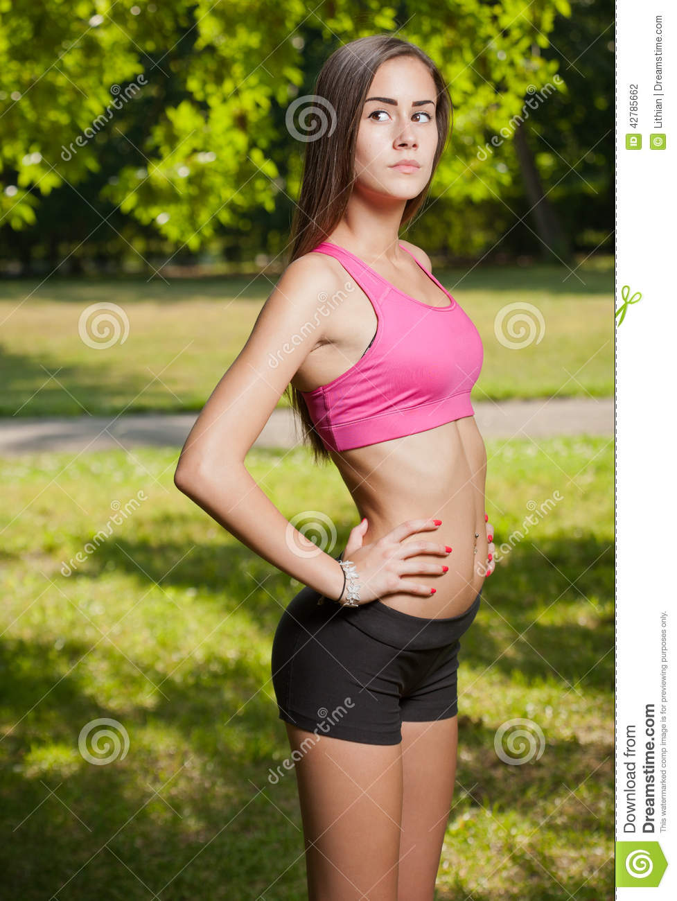 Beautiful Slender Young Fitness Girl