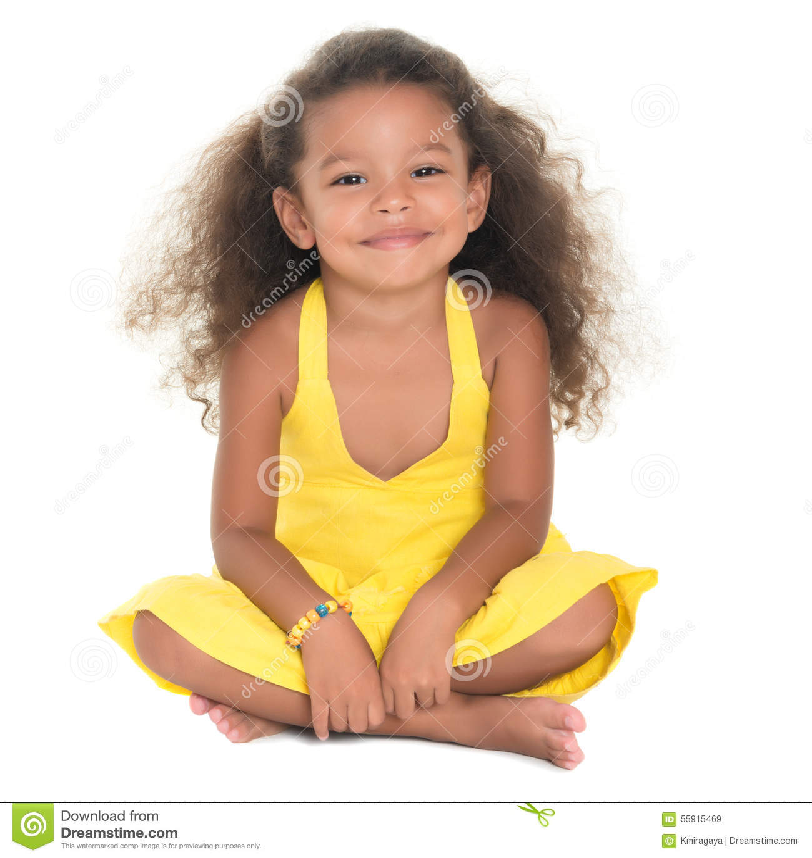 Small And Beautiful Bathrooms: Beautiful Small Hispanic Girl Sitting On The Floor Stock
