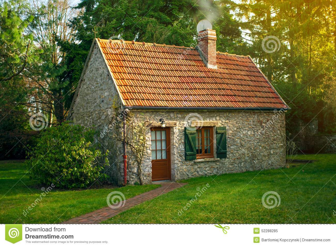 Beautiful small house stock photo image 52288285 for Small home garden