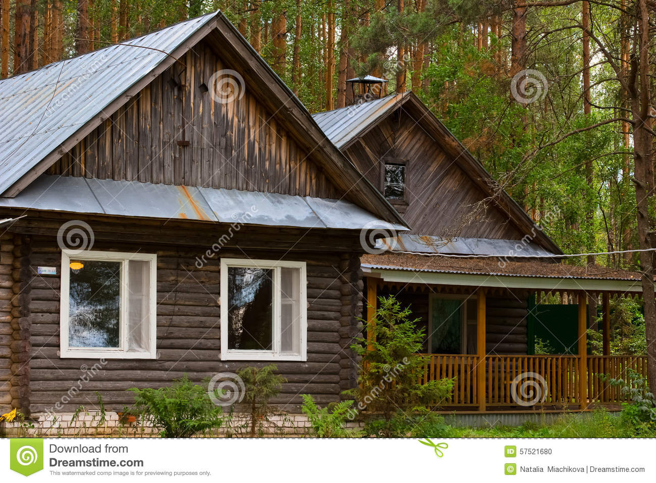 Beautiful small house in the woods stock photo image for Pretty small houses