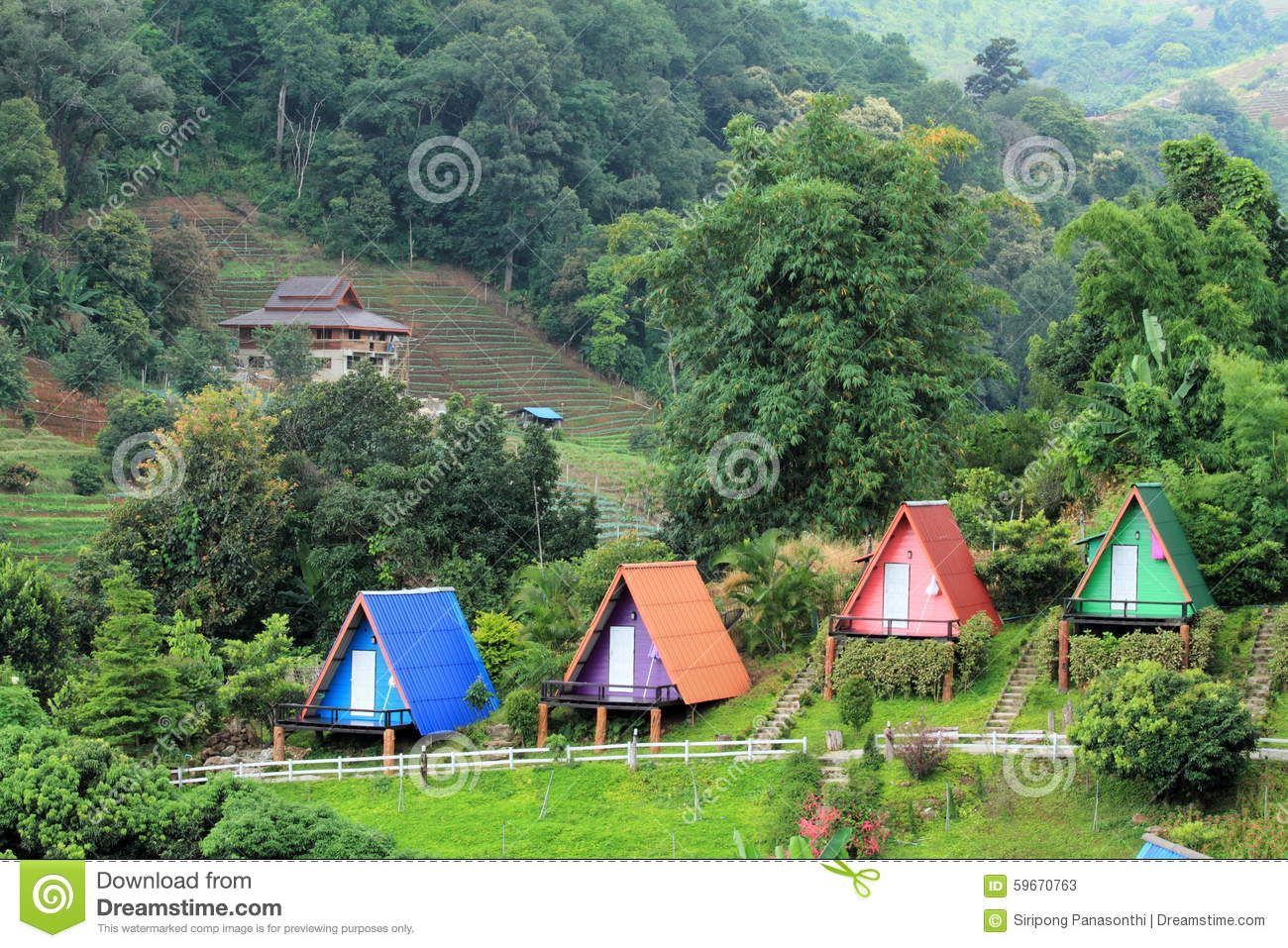 Beautiful small resort situated on a hill stock photo for Small resort