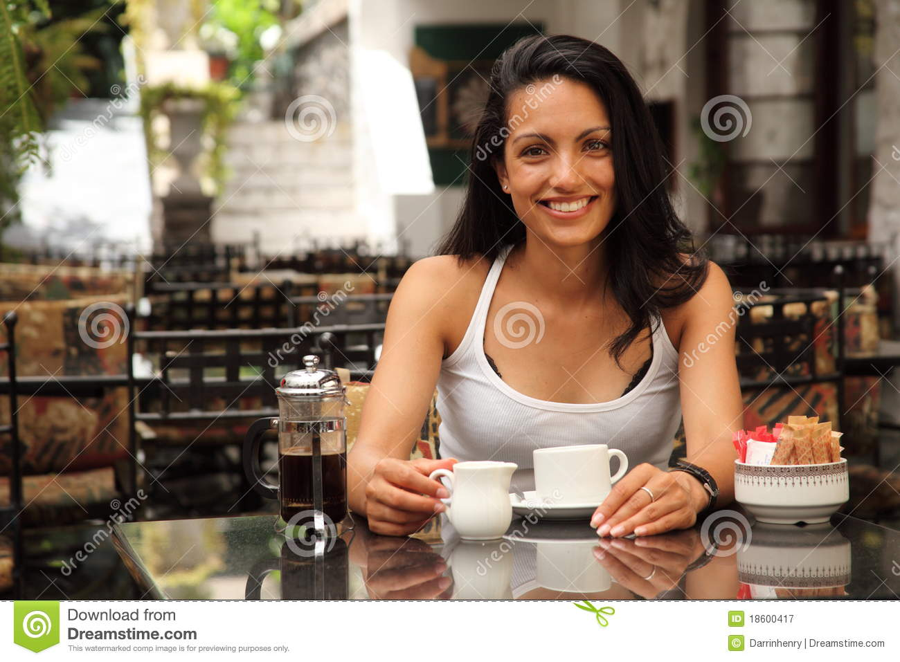 Beautiful Smile From Happy Young Woman In Cafe Stock Image